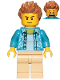 Minifig No: cty1033  Name: Camera Operator - Hawaiian Shirt, Tan Legs, Medium Dark Flesh Hair Spiked