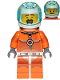Minifig No: cty1034  Name: Astronaut - Male, Orange Spacesuit with Dark Bluish Gray Lines, Trans Light Blue Large Visor, Large Smile with Eyes Closed and Smirk