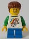 Minifig No: cty1046  Name: Boy, Classic Space Shirt with Minifigure Floating and Back Print, Blue Short Legs, Reddish Brown Hair