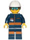 Minifig No: cty1060  Name: Ground Crew Technician - Female, Dark Blue Jumpsuit, White Construction Helmet with Dark Brown Ponytail Hair, Light Blue Goggles