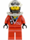 Minifig No: div014  Name: Divers - Red Diver 2, Red Legs, Black Helmet