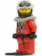 Minifig No: div016  Name: Divers - Red Diver 2, Red Legs with Black Hips, Black Helmet, Brown Bangs, Stubble