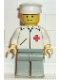 Minifig No: doc003  Name: Doctor - Straight Line, Light Gray Legs, White Hat