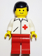 Minifig No: doc009  Name: Doctor - Straight Line, Red Legs, Black Male Hair