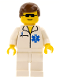 Minifig No: doc014  Name: Doctor - EMT Star of Life, White Legs, Brown Male Hair