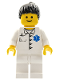 Minifig No: doc026  Name: Doctor - EMT Star of Life Button Shirt, White Legs, Black Ponytail Hair