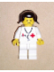 Minifig No: doc030  Name: Doctor - Stethoscope, White Legs, Black Pigtails Hair