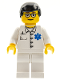 Minifig No: doc032  Name: Doctor - EMT Star of Life Button Shirt, White Legs, Black Male Hair, Glasses