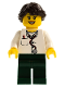 Minifig No: doc037  Name: Doctor - Lab Coat Stethoscope and Thermometer, Dark Green Legs, Long French Braided Female Hair (45022)