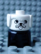 Minifig No: dupfig001  Name: Duplo 2 x 2 x 2 Figure Brick Early, Dog on Black Base, White Head, looks Left