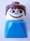 Minifig No: dupfig004  Name: Duplo 2 x 2 x 2 Figure Brick Early, Male on Blue Base, Brown Hair, Freckles