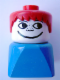 Minifig No: dupfig005  Name: Duplo 2 x 2 x 2 Figure Brick Early, Male on Blue Base, Red Hair, Freckles