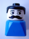 Minifig No: dupfig009  Name: Duplo 2 x 2 x 2 Figure Brick Early, Male on Blue Base, Black Hair, Moustache