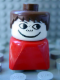 Minifig No: dupfig010  Name: Duplo 2 x 2 x 2 Figure Brick Early, Male on Red Base, Brown Hair, Freckles