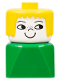 Minifig No: dupfig019  Name: Duplo 2 x 2 x 2 Figure Brick Early, Female on Green Base, Yellow Hair, Nose Freckles