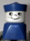 Minifig No: dupfig021  Name: Duplo 2 x 2 x 2 Figure Brick Early, Male on Blue Base, Blue Sailor Hat, Freckles