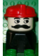 Minifig No: dupfig022  Name: Duplo 2 x 2 x 2 Figure Brick Early, Male on Black Base, Moustache, Red Hat (Firefighter)