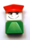 Minifig No: dupfig039  Name: Duplo 2 x 2 x 2 Figure Brick Early, Male on Green Base, Red Police Hat