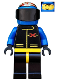Minifig No: ext001  Name: Extreme Team - Blue, Blue Flame Helmet, White Bangs
