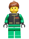 Minifig No: ext016  Name: Extreme Team - Green, Green Legs, Brown Ponytail Hair