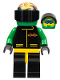 Minifig No: ext018  Name: Extreme Team - Green, Black Legs with Yellow Hips, Green Flame Helmet