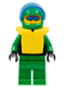Minifig No: ext019  Name: Extreme Team - Green, Green Legs, Green Helmet, Life Jacket, Trans-Dark Blue Visor