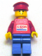Minifig No: exx004s  Name: Exxon - Blue Legs, Red Hat (Sticker Torso)