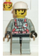 Minifig No: fire003  Name: Fire - City Center 2, Light Gray Legs with Black Hips, White Cap