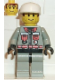 Minifig No: fire004  Name: Fire - City Center 5, Light Gray Legs with Black Hips, White Cap, Brown Sideburns