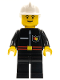 Minifig No: firec006  Name: Fire - Flame Badge and Straight Line, Black Legs, White Fire Helmet