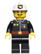 Minifig No: firec009  Name: Fire - Flame Badge and 2 Buttons, Black Legs, White Fire Helmet with Fire Logo
