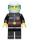 Minifig No: firec010  Name: Fire - Flame Badge and Straight Line, Black Legs, White Helmet, Trans-Light Blue Visor