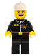 Minifig No: firec017  Name: Fire - Flame Badge and 2 Buttons, Black Legs, White Fire Helmet