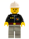 Minifig No: firec021  Name: Fire - Flame Badge and 2 Buttons, Light Bluish Gray Legs, White Fire Helmet