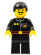 Minifig No: firec023  Name: Fire - Flame Badge and 2 Buttons, Black Legs, Black Male Hair