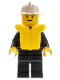 Minifig No: firec025  Name: Fire - Flame Badge and Straight Line, Black Legs, White Fire Helmet, Life Jacket