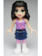 Minifig No: frnd007  Name: Friends Emma, Dark Blue Layered Skirt, Medium Violet Top, White Boots