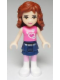 Minifig No: frnd010  Name: Friends Olivia, Dark Blue Layered Skirt, Dark Pink Top with Hearts