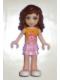 Minifig No: frnd023  Name: Friends Olivia, Bright Pink Layered Skirt, Orange Top