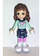 Minifig No: frnd030  Name: Friends Olivia, Dark Blue Layered Skirt, Light Aqua Long Sleeve Christmas Top