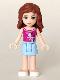 Minifig No: frnd040  Name: Friends Olivia, Bright Light Blue Skirt, Magenta Top