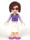 Minifig No: frnd044  Name: Friends Ms. Stevens, White Long Skirt, Medium Lavender Vest