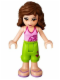 Minifig No: frnd048  Name: Friends Olivia, Lime Cropped Trousers, Bright Pink Top