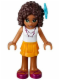 Minifig No: frnd051  Name: Friends Andrea, Bright Light Orange Layered Skirt, White Top with Necklace with Music Notes, Flower
