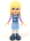 Minifig No: frnd053  Name: Friends Stephanie, Bright Light Blue Layered Skirt, Medium Lavender Jacket, Scarf