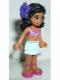 Minifig No: frnd057a  Name: Friends Kate, Light Aqua Layered Skirt, Magenta Bikini Top, Dark Purple Flower