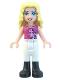 Minifig No: frnd060  Name: Friends Liza, White Riding Pants, Magenta Top