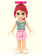 Minifig No: frnd061  Name: Friends Mia, Bright Pink Layered Skirt, Olive Green Top, Bow
