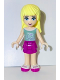 Minifig No: frnd065  Name: Friends Stephanie, Magenta Layered Skirt, Olive Green Top