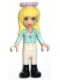 Minifig No: frnd068  Name: Friends Stephanie, White Riding Pants, Light Aqua Long Sleeve Top with Collar, Bow